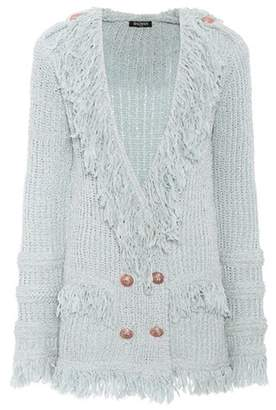 Fringed double-breasted cardigan