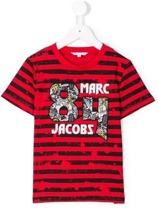 Little Marc Jacobs 84 patch logo striped T-shirt