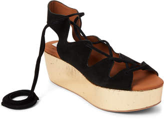 See by Chloe Black & Gold Lace-Up Platform Sandals