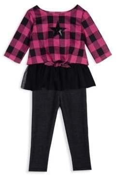 Little Girl's Two-Piece Plaid Top & Leggings Set