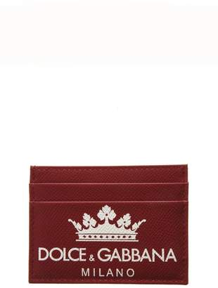 Dolce & Gabbana Red Dauphine Leather Credit Card Holder With Logo
