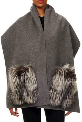 Gorski Wool Stole w/ Fur Patch Pockets