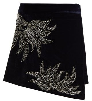Dodo bar or Dodo Bar Or - Paula Embellished Velvet Mini Skirt - Womens - Navy