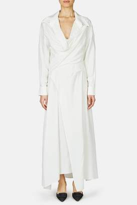 Jacquemus La Tunique Badii Draped Waist Collared Shirtdress - Off White