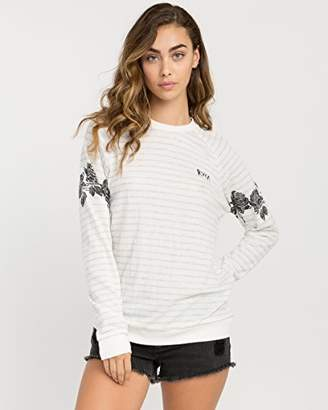 RVCA Junior's Oblow Roses Fleece Crew Neck Sweatshirt