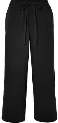 Vince Cropped Cotton-jersey Wide-leg Pants - Black