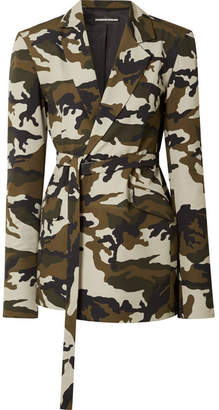 House of Holland Oversized Belted Camouflage-print Cotton-canvas Blazer - Army green