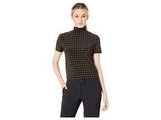 Anne Klein Bistro Short Sleeve Mock Neck Knit Women's Blouse