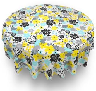 "Carnation Retro Garden Floral Quality Vinyl Flannel Back Tablecloth 70"" Round"