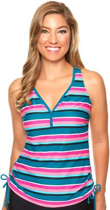 Couture Women's Aqua Striped Drawstring Tankini Top
