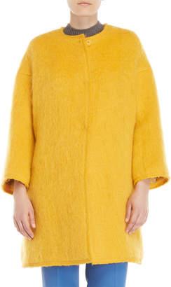 Mantu Yellow Textured Long Pile Coat