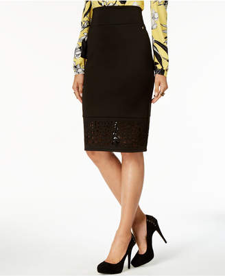 Thalia Sodi Perforated Pencil Skirt