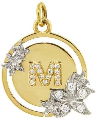 Foundrae Flower Diamond Initial Charm