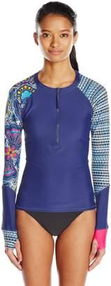 Body Glove Women's Free Spirit Sleek Zip Front Long Sleeve Rashguard
