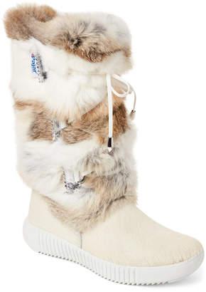 BEIGE Pajar Canada Juliana Real Fur Boots