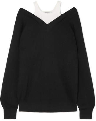 Alexander Wang Layered Ribbed Merino Wool-blend And Cotton Sweater - Black
