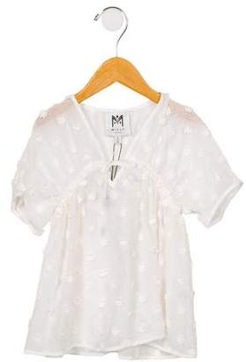 Milly Minis Girls' Embroidered V-Neck Cover-Up w/ Tags