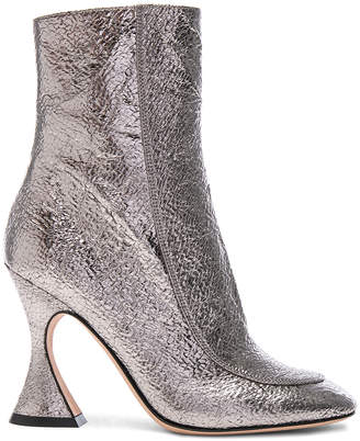 Sies Marjan Emma Laminated Leather Crinkle Boot in Gunmetal | FWRD