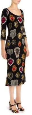 Dolce & Gabbana Silk Cady Heart-Print Dress