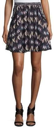 Diane von Furstenberg Army of Hearts Tweed-Trim Silk Miniskirt, Wild Rose/Tan $268 thestylecure.com