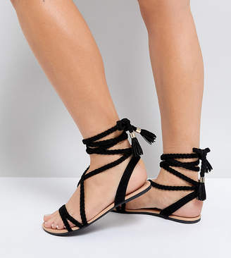 Asos Design DESIGN Wide Fit Fayla tie leg plaited flat sandals