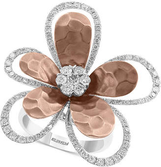 Effy Diamond Flower Ring (1-1/4 ct. t.w.) in 14k White & Rose Gold