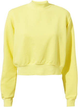 Cotton Citizen Milan Pastel Lemon Crop Sweatshirt