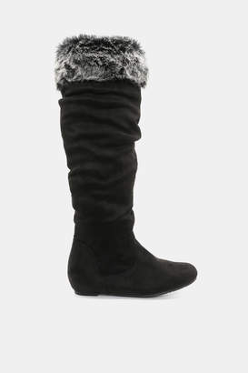 Ardene Faux Fur Collared Knee-High Boots