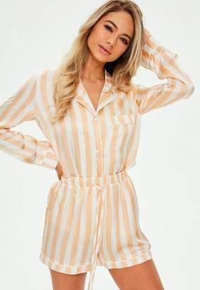 Missguided Pastel Stripe Satin Piped Pyjama Short Set