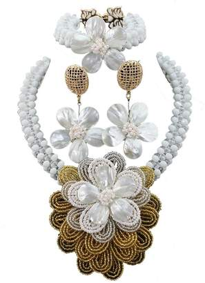 Africanbeads Crystal Handmade Flowers Nigerian Wedding African Beads Jewelry Set Women Party Necklace