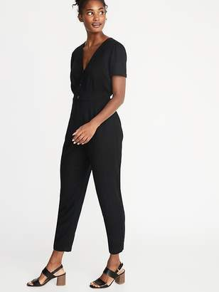 Old Navy V-Neck Button-Front Jumpsuit for Women