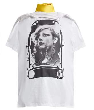 Raf Simons Photograph Print Cotton Jersey T Shirt Style Scarf - Womens - White