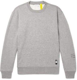 Moncler Genius - 7 Fragment Logo-Embroidered Melange Loopback Cotton-Jersey Sweatshirt - Men - Gray