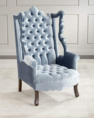 Haute House Isabella Tufted Velvet Cut-Out Wing Chair