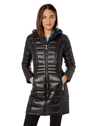 Calvin Klein Women's Long Packable Down Jacket with Attached Hood
