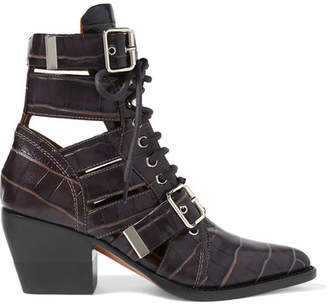 Chloé Rylee Cutout Croc-effect Leather Ankle Boots - Chocolate