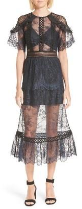 Women's Self-Portrait Frilled Lace Midi Dress $545 thestylecure.com