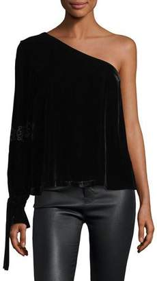 Tanya Taylor Anka One-Shoulder Velvet Top