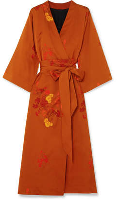 Ellery Bishop Floral-print Silk-satin Wrap Dress - Bright orange