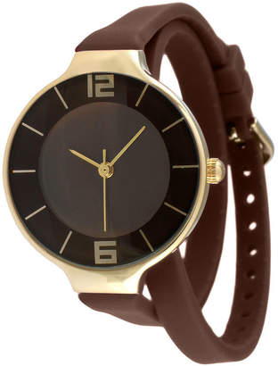 JCPenney TKO ORLOGI Womens Brown Silicone Strap Wrap Watch