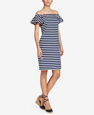 Lauren Ralph Lauren Striped Off-The-Shoulder Cotton Dress $99.50 thestylecure.com