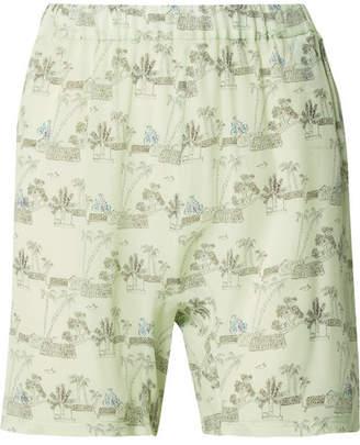 Marni Printed Silk Shorts - Light blue