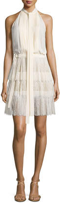 Michael Kors Sleeveless Tie-Neck Pleated Dress, Vanilla