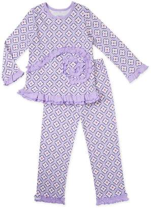 Sara's Prints Girls' Purple Quatrefoil 2-Piece Pajama Set, Kids