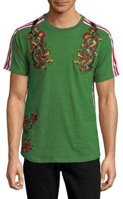 Reason Embroidered Floral and Dragon Cotton Tee