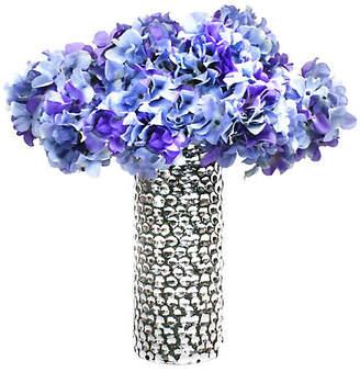 "One Kings Lane 19"" Purple Hydrangea Arrangement with Vase - Faux"