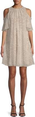 Calvin Klein Collection Cold-Shoulder Chiffon Dress