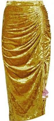 Rebecca Minkoff Ruched Crushed-Velvet Midi Skirt