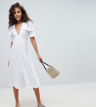 Asos Tall DESIGN Tall linen button through casual midi tea dress