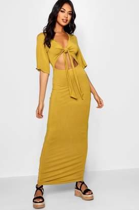 boohoo Kimono Sleeve Knot Front Maxi Dress